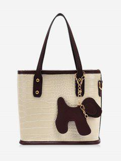 Dog Detail Animal Pattern PU Leather Tote Bag - Warm White