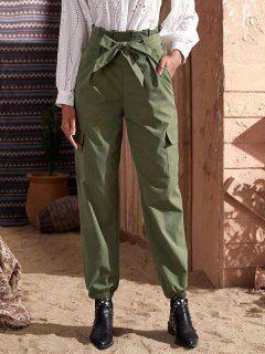 Pantalones De Carga Con Bolsillos De Papel - Verde Oscuro Xl