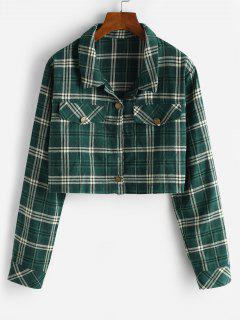 Cropped Flap Detail Flannel Plaid Shacket - Deep Green M