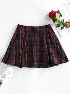 ZAFUL High Waist Plaid Pleated Mini Skirt - Red Wine S