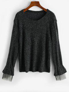 Heathered Ruched Mesh Cuffs Knitwear - Black Xl