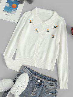 Button Up Daisy Embroidered Cardigan - White