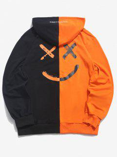 Letter Print Contrast Slogan Hoodie - Orange L
