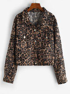 Leopard Button Up Corduroy Shacket - Coffee S