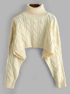 Turtleneck Cropped Cable Knit Sweater - Light Coffee