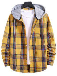 Hooded Plaid Print Curved Hem Drawstring Shirt - Bright Yellow L