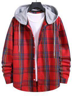 Camisa Con Capucha A Cuadros Con Lazo - Rojo Lava M