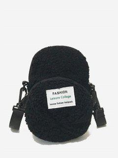 Sac à Bandoulière Fourré En Forme De Chapeau - Noir
