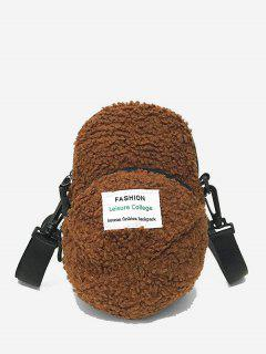 Cap Shape Fluffy Crossbody Bag - Brown