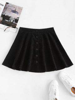 Button Up Corduroy Mini Skirt - Black S