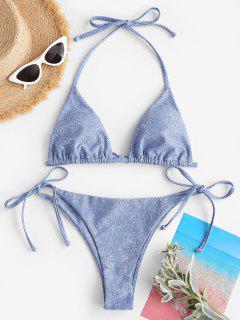 ZAFUL Gebundener Neckholder Denim Bikini Badebekleidung - Hellblau M