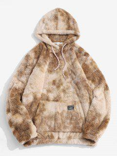 Applique Detail Tie Dye Pattern Fluffy Hoodie - Coffee L