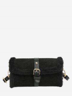 Faux Fur Trim Flap Crossbody Bag - Black