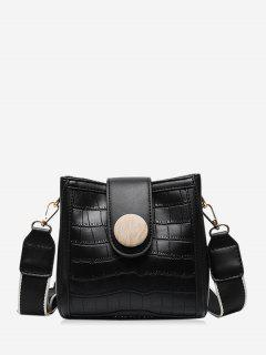 Animal Pattern Pu Leather Square Crossbody Bag - Black