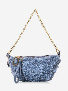 Faux Shearling Double Strap Fanny Pack - Blue Gray