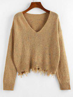 ZAFUL Frayed Hem Drop Shoulder Confetti Knit Sweater - Khaki M