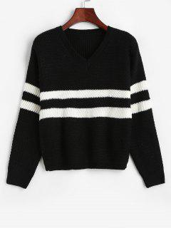 Two Tone Striped Drop Shoulder Sweater - Black