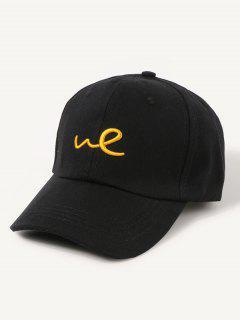 Embroidered Letter We Baseball Cap - Black