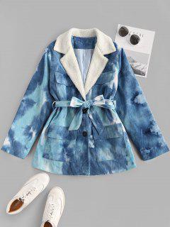 Tie Dye Faux Shearling Collar Belted Corduroy Jacket - Blue M