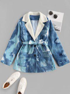 Tie Dye Faux Shearling Collar Belted Corduroy Jacket - Blue S