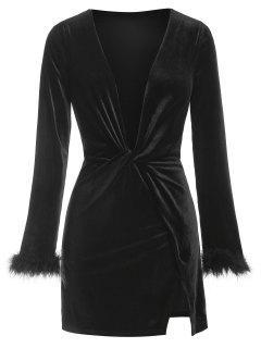 ZAFUL Plunge Neck Fluffy Cuff Velour Dress - Black S
