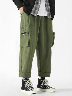 Drawstring Ankle Patch Design Cargo Pants - Army Green Xs