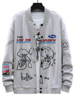 Letter Funny Pattern Graphic Patch Jacket - Gray M