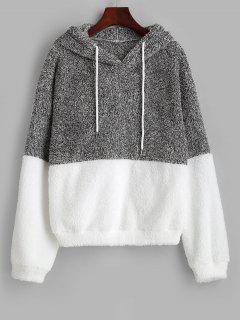 ZAFUL Drawstring Colorblock Heathered Fluffy Hoodie - Light Gray S
