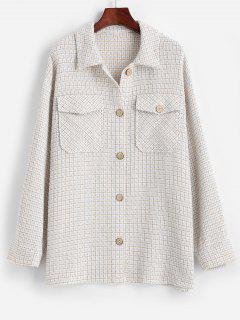 ZAFUL Flap Pockets Plaid Tweed Shacket - Baby Blue M