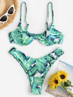 Costume Da Bagno Bikini A Costine Stampato Foglia Tropicale Con Ferretto Di ZAFUL - Verde Chiaro S
