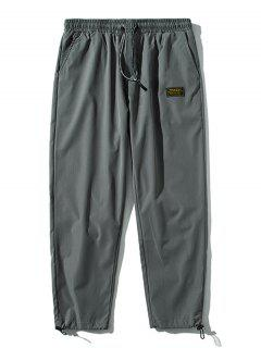 Elastic Waist Letter Patched Pants - Dark Gray M