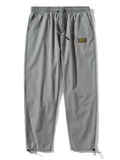 Elastische Taille Buchstabe Gepatchte Hose - Hellgrau S