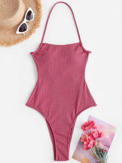 ZAFUL Ribbed Tie Backless One-piece Swimsuit - Light Pink S