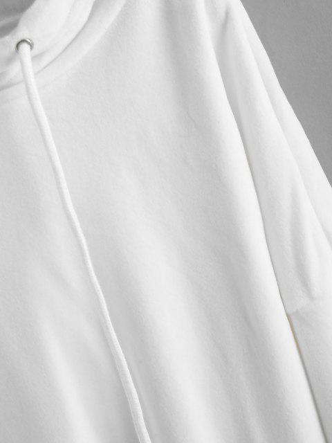 ZAFUL Sweat à Capuche à Goutte Epaule en Velours - Blanc M Mobile