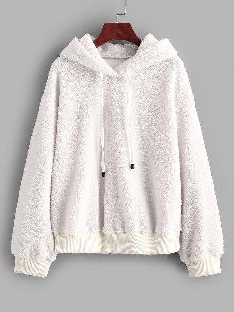 trendy ZAFUL Fluffy Faux Fur Tetxured Hoodie - WHITE S Mobile