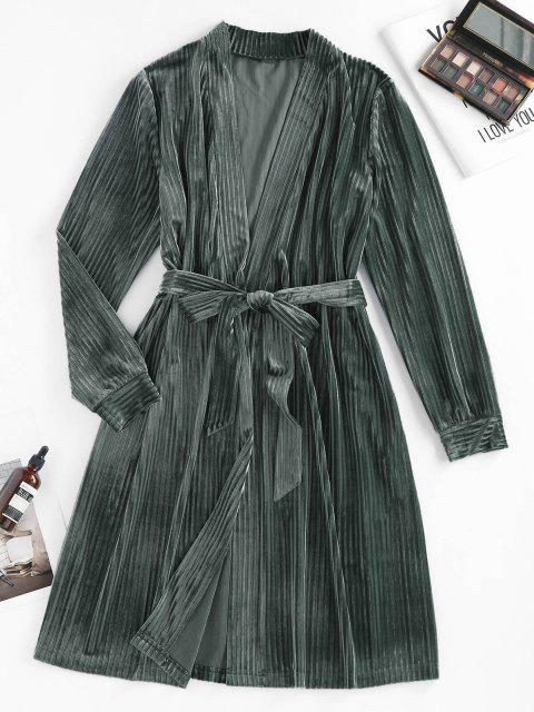 shops ZAFUL Ribbed Belted Pajama Robe - SLATE GRAY S Mobile