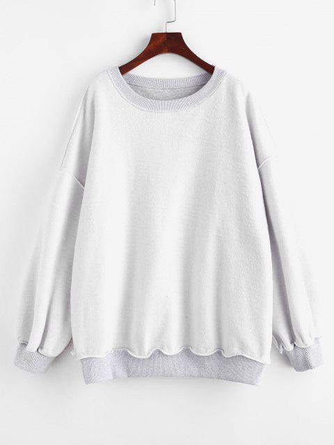 Sweat-shirt Surdimensionné Doublure en Laine à Col Rond - Gris S Mobile