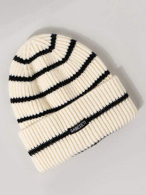 Cappello in Maglia a Coste a Righe - Bianca  Mobile