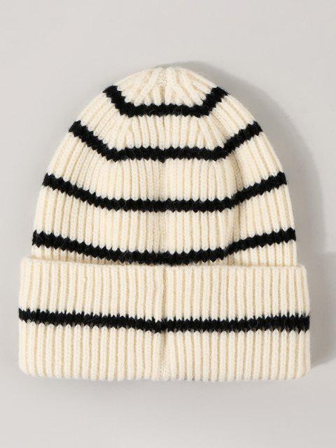 women Striped Ribbed Knitted Hat - WHITE  Mobile