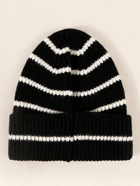 ladies Striped Ribbed Knitted Hat - BLACK  Mobile