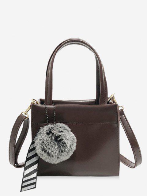 Retro Pom Pom Band Anhänger Handtasche - Tiefes Braun  Mobile