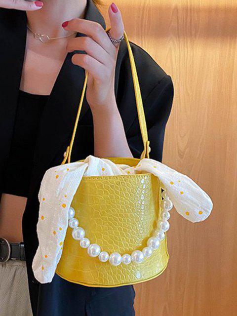 Tupfendruck Bowknot Künstliche Perle Bucket Tasche - Goldrute  Mobile