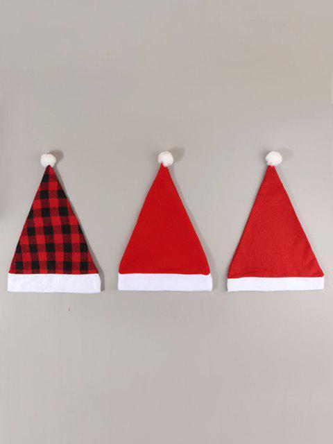 3pcs Kariertes Schneemann Weihnachten Hut Set - Rot  Mobile