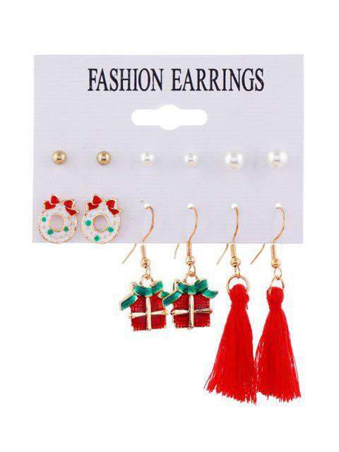 6 Paar Weihnachtskarikatur Quaste Ohrringe Set - Multi-B  Mobile