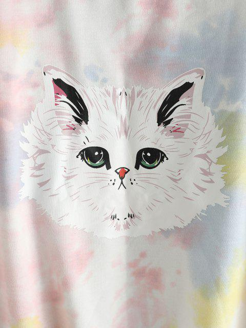 Sudadera de Gran Tamaño Teñido Diseño Divertido Gato - Multicolor-A M Mobile
