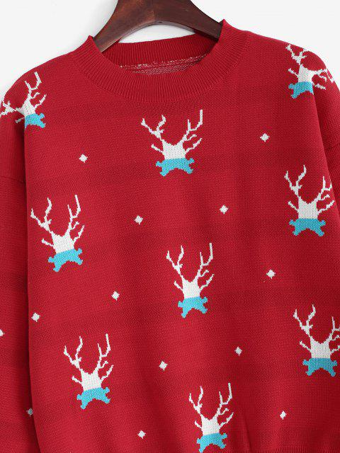 sale Christmas Elk Drop Shoulder Sweater - RED ONE SIZE Mobile
