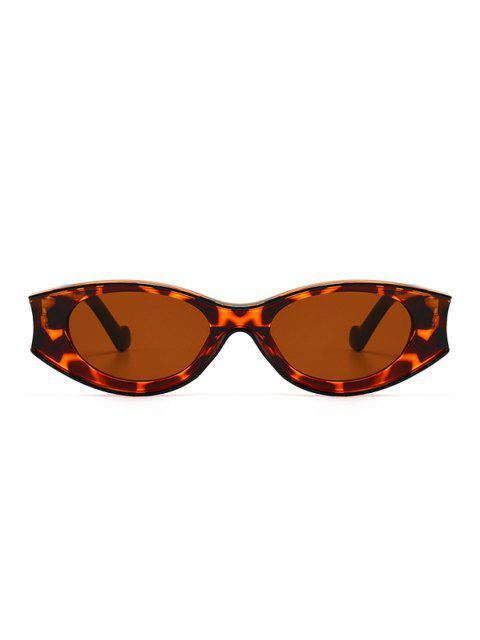 ladies Retro Colorblock Oval Sunglasses - LEOPARD  Mobile