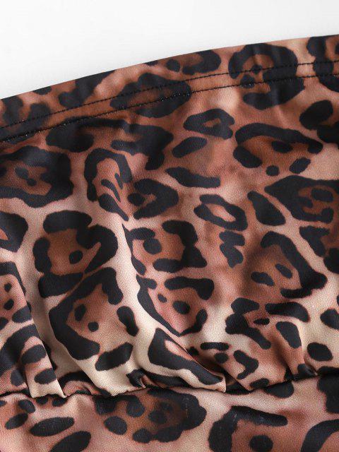 Mini Vestito a Tubino con Stampa Leopardata - colore di caffè scuro  M Mobile