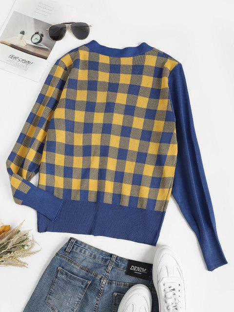 outfit Button Up Plaid Panel Dual Pocket Cardigan - MULTI-B ONE SIZE Mobile