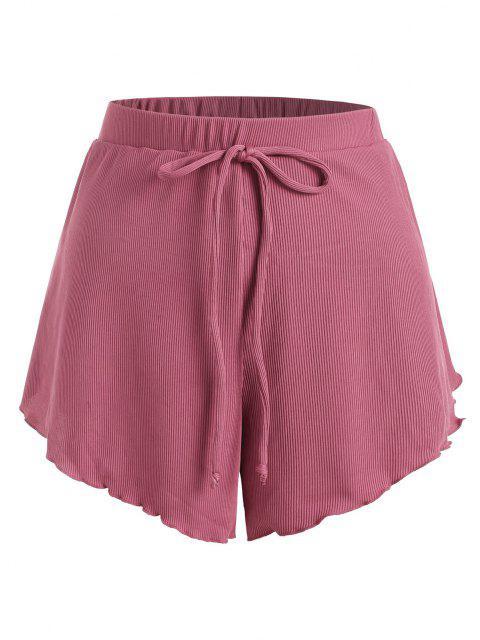 ZAFUL Übergröße Shirt mit Geripptem Schleife und Kopfsalatbesatz - Hell-Pink XXL Mobile